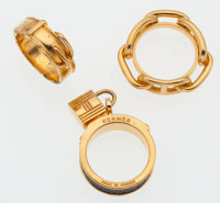 Hermes Set of Three; Gold & Black Lizard Debridee Ring, Gold Chain d'Ancre Ring, and Gold Belt Ring Good to Ver