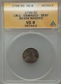 Early Half Dimes, 1796 H10C -- Bent, Damaged, Silver Washed -- ANACS. VG8 Details.LM-1. NGC Census: (0/18). PCGS Population (1/114). Mintage...