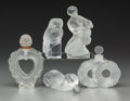 Art Glass:Lalique, Five Lalique and Baccarat Frosted Glass Table Items. TwoFlowers, Coeur Joie, Duck, Fille et Chèvre, Owl. EngravedLAL... (Total: 5 Items)