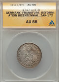 German States:Frankfurt am Main, German States: Frankfurt am Main. Free City 1/8 Taler 1717 AU55ANACS,...