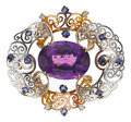 Estate Jewelry:Brooches - Pins, Retro Amethyst, Sapphire, Platinum-Topped Gold Brooch. ...