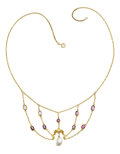 Estate Jewelry:Necklaces, Antique Pink Sapphire, Freshwater Cultured Pearl, Gold Necklace....