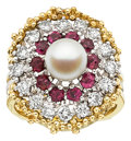Estate Jewelry:Rings, Cultured Pearl, Diamond, Ruby, Gold Ring Set. ...