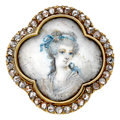 Estate Jewelry:Brooches - Pins, Antique Diamond, Painted Portrait, Gold Pendant-Brooch. ...