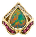 Estate Jewelry:Rings, Opal, Diamond, Ruby, Gold Ring. ...