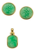 Estate Jewelry:Suites, Jadeite Jade, Gold Jewelry Suite, Gumps. ...