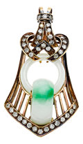 Estate Jewelry:Pendants and Lockets, Antique Jadeite Jade, Diamond, Gold Pendant. ...