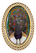 Estate Jewelry:Brooches - Pins, Antique Peacock Feather, Mother-of-Pearl, Gold Pendant-Brooch. ...