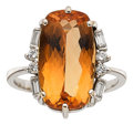 Estate Jewelry:Rings, Topaz, Diamond, White Gold Ring. ...