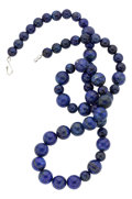 Estate Jewelry:Necklaces, Lapis Lazuli, White Metal Necklace. ...