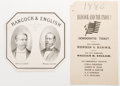 Political:Small Paper (pre-1896), Winfield Scott Hancock: Great jugate cigar box label, together witha paper electoral ticket. An affordable jugate for this ...