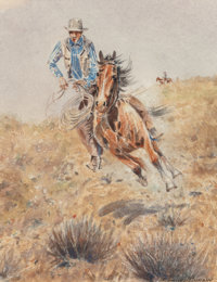 Edward Borein (American, 1873-1945) On the Chase Watercolor on paper 9-1/2 x 7-1/4 inches (24.1 x