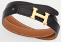 "Luxury Accessories:Accessories, Hermes 60cm Black Calf Box & Vache Naturelle Leather ReversibleH Belt with Gold Hardware. Very Good Condition. .75""W..."