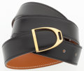 """Luxury Accessories:Accessories, Hermes 90cm Black Calf Box & Vache Naturelle Leather Reversible Belt with Gold Hardware. Very Good Condition. 1"""" Width..."""