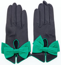 "Hermes Blue Marine & Vert Bengale Agneau Leather Bow Gloves Very Good to Excellent Condition 3"" W"