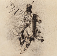 Edward Borein (American, 1873-1945) Crow Indian Rider with Lance and Blanket, 1915 Ink on paper 2