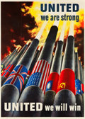 """Movie Posters:War, World War II Propaganda (U.S. Government Printing Office, 1943).OWI Poster # 64 (40"""" X 56"""") """"United We Are Strong."""". ..."""
