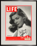 "Movie Posters, Lauren Bacall (Life Magazine, 1944). Autographed Magazine Cover(approx. 10.5"" X 14""), Framed (14.75"" X 18.5"").. ..."