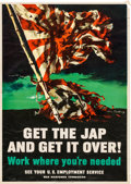 "Movie Posters:War, World War II Propaganda (U.S. Government Printing Office, 1945).Poster (14.25"" X 20"") ""Get the Jap and Get It Over!"". ..."
