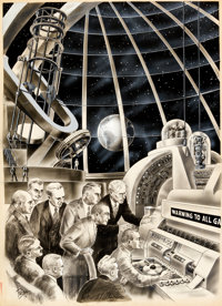 "Frank R. Paul Science-Fiction Plus #4 ""Warning To All..."" Illustration Original Art (Gernsback Publications, 1..."