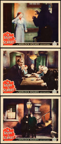 "Movie Posters:Mystery, A Study in Scarlet (World Wide, 1933). Lobby Cards (3) (11"" X14"").. ... (Total: 3 Items)"