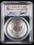 Baseball Collectibles:Others, 2014 Johnny Bench Signed Baseball Hall of Fame Silver Dollar PCGSMS70 Coin. ...