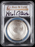 Baseball Collectibles:Others, 2014 Hank Aaron Signed Baseball Hall of Fame Silver Dollar PCGSMS70 Coin - First Strike. ...