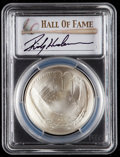 Baseball Collectibles:Others, 2014 Rickey Henderson Signed Baseball Hall of Fame Silver DollarPCGS MS70 Coin. ...