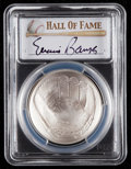 Baseball Collectibles:Others, 2014 Ernie Banks Signed Baseball Hall of Fame Silver Dollar PCGSMS70 Coin. ...