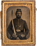 Military & Patriotic:Civil War, Quarter Plate Tintype of a Confederate Soldier Holding a Sword...