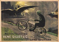 "Movie Posters:Miscellaneous, Motocyclettes Rene Gillet & Cie. (Circa. 1920). FrenchAdvertising Poster (39"" X 55"").. ..."