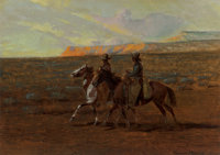 Edward Borein (American, 1873-1945) Two Cowboys, 1919 Oil on board 8-5/8 x 11-7/8 inches (21.9 x