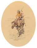Works on Paper, Charles Marion Russell (American, 1864-1926). Assiniboine Warrior, 1922. Watercolor and ink on paper. 10 x 9 inches (25.... (Total: 2 Items)