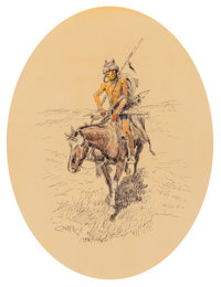 Charles Marion Russell (American, 1864-1926) Assiniboine Warrior, 1922 Watercolor and ink on paper