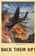 "Movie Posters:War, World War II Propaganda (Royal Air Force, 1940s). British RAFPoster (19.75"" X 30""). ""Back Them Up!"". ..."