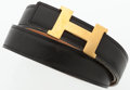 "Luxury Accessories:Accessories, Hermes 65cm Black Calf Box & Vache Naturelle Leather ReversibleH Belt with Gold Hardware. Good Condition. 1"" Width x..."