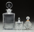 Art Glass:Other , Three Clear Glass Baccarat Perfumes. Circa 1950-1970. Ht. 10 in.(tallest). ... (Total: 3 Items)