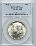 Kennedy Half Dollars, 1968-D 50C TDO, FS-101 MS63 PCGS. PCGS Population (4/7). Mintage:246,951,936. ...