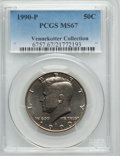 Kennedy Half Dollars, 1990-P 50C MS67 PCGS. Ex: Vennekotter Collection. PCGS Population(37/0). NGC Census: (45/2). Numismedia Wsl. Price for pr...