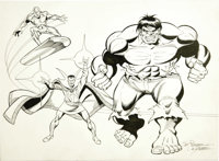 Sal Buscema and George Perez - The Defenders Illustration Original Art (undated)