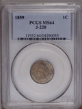 1859 P1C Indian Cent, Judd-228, Pollock-272, R.1, MS64 PCGS. Snow-PT4, Die Pair 1. A transitional pattern with the Point...