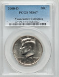 Kennedy Half Dollars, 2000-D 50C MS67 PCGS. Ex: Vennekotter Collection. PCGS Population(60/0). NGC Census: (43/0). Numismedia Wsl. Price for pr...