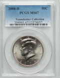 Kennedy Half Dollars, 2008-D 50C Kennedy MS67 PCGS. Ex: Vennekotter Collection. PCGSPopulation (25/0). ...