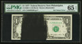 Error Notes:Ink Smears, Fr. 1909-C $1 1977 Federal Reserve Note. PMG Gem Uncirculated 65EPQ.. ...