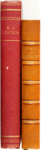 Books:Biography & Memoir, W. J. Linton. Pair of Titles. Includes: Poems andTranslations. London: John C. Nimmo, 1889. [together with:]Me... (Total: 2 Items)