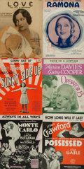 Books:Music & Sheet Music, [Sheet Music]. Six Sets of Early Twentieth-Century Sheet Music from Various Motion Pictures. Various publishers, 1927 - 1934...
