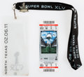 """Football Collectibles:Tickets, 2011 Super Bowl XLV (Packers Victory Over Pittsburgh) Full Ticket, Lanyard and """"I Was There"""" Pin...."""