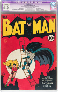 Batman #4 (DC, 1940) CGC Apparent FN+ 6.5 Moderate (P) Off-white to white pages