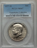 Kennedy Half Dollars, 1977-D 50C MS67 PCGS. PCGS Population (41/1). NGC Census: (13/0).Mintage: 31,449,106. Numismedia Wsl. Price for problem fr...