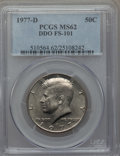 Kennedy Half Dollars, 1977-D 50C Doubled Die Obverse, FS-101, MS62 PCGS. PCGS Population(1/6). Mintage: 31,449,106....